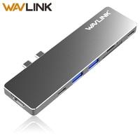 Wavlink Dual port USB C Hub For MacBook Pro 2017/2018 Type C 40Gbps 7 In 1 USB 3.0 Hub Aluminum 4K HDMI SD/Micro SD Card Reader
