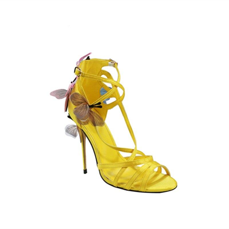 5fd5e77c9 2018 Nova moda sapatos de grife borboleta requintado embelezado finas  sandálias de salto alto sexy peep toe bombas de cross amarrado em Sapatos  femininos de ...