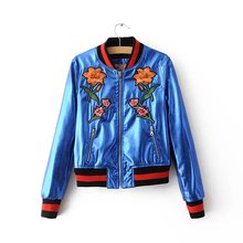 Free shipping casual Women Korean Institute of wind solid color embroidery O-neck Slim thin wild leather jacket coat