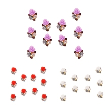 10Pcs/Set 3D Nail Art Decorations Rose Flowers Jewelry Glitters Crystal Rhinestones DIY Nail Tools