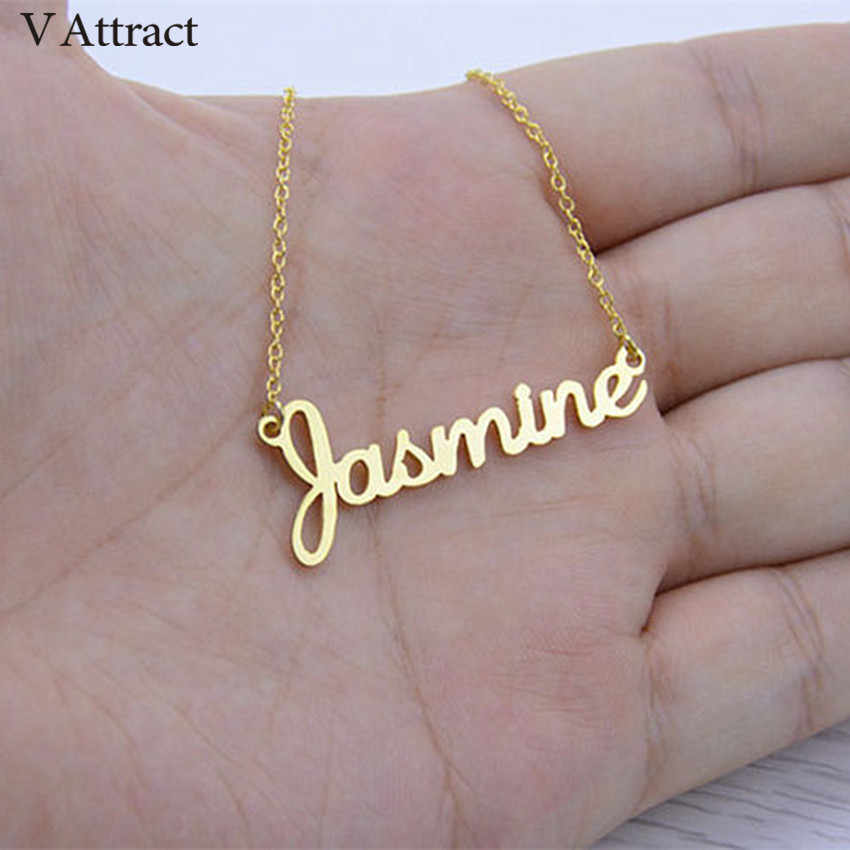 V Attract Handmade Any Font Custom Name Necklace Women Jewelry Stainless Steel Personalized Collares Choker Best Friend Gift