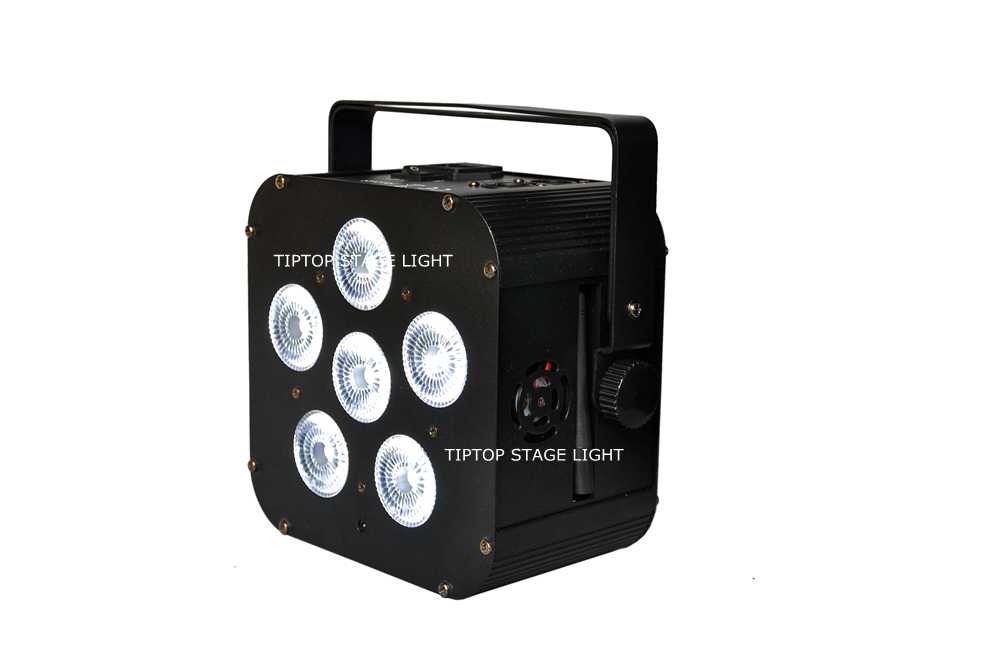 TIPTOP New Battery Powered Wireless DMX Led Par Light 6x18W RGBWA UV 6IN1 Infrared Controller Full Color LED Display Black Paint