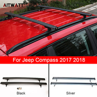 Roof Rack Fit For Jeep Compass 2017 2018 Aluminium Alloy Side Rails Cross Bars Luggage Carrier Black Roof Rack 2Pcs Car Styling