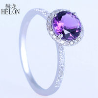 HELON Romantic Solid 10K White Gold Round 7mm Genuine Amethyst Ring Diamonds Engagement Wedding Ring For Women Fine Jewelry