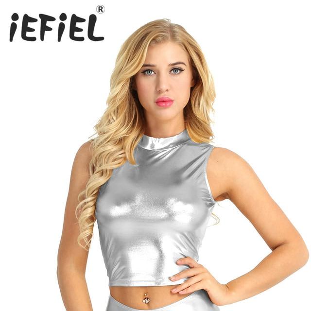 34bdb1426b659 Fashion Women Wet Look Faux Leather Sleeveless Mock Neck Turtleneck Crop Tank  Tops Nightwear Clubwear Crop