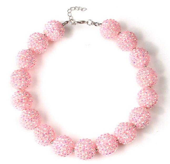 Girl Love Pink Shambhala Bead Strand Short Necklace Kids Birthday Gift Baby Fancy Dress Matched Child DIY Jewelry WX1883