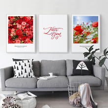 Elegant Poetry Red Roses and Love You Sweet Home Decoration Canvas Painting Art Print Poster Picture Wall Paintings Decor