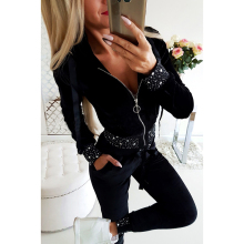 Casual Women Pants Soprts Sets 2019 Tunic Two Piece Suits Fashion Long Sleeve Zipper Female Trousers  H40