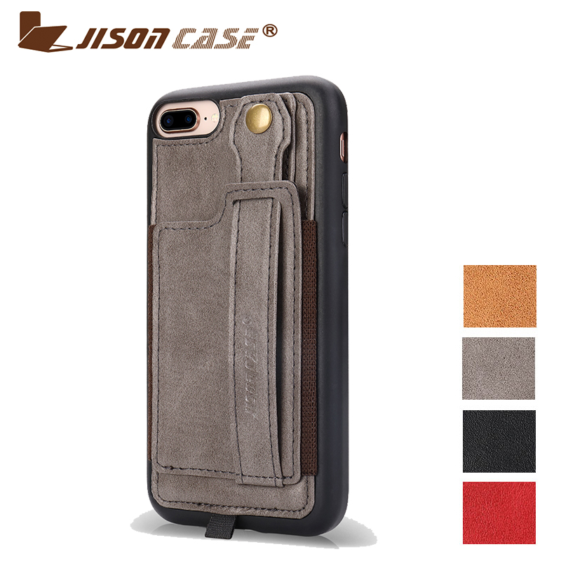 Jisoncase Leather Case For iPhone 8plus 5.5 With Card Slot and Lanyard Design Vintage Luxurious Fashion Plain Phone Cases