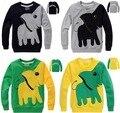 2017 top quality boys t shirt long sleeve spring autumn cartoon cotton 3d elephant t-shirts black yellow children t shirts