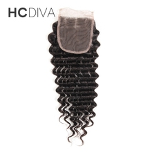 "HCDIVA Deep Wave Malaysian Lace Closure No Remy Human Hair Middle Part 8 ""-18 "" Swiss Lace Size 4*4 Closure with Baby Hair"