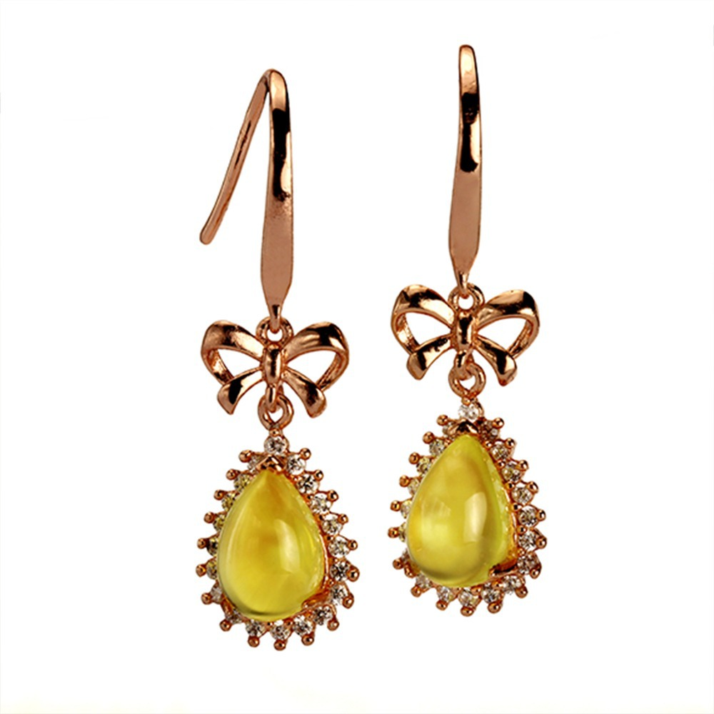 MELE Natural yellow prehnite silver earring pears 6mm 9mm cabochon cut deep yellow color fashion and