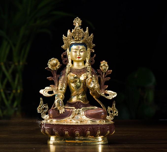 Buddha figure efficacious HOME OFFICE House Protection Talisman 21cm tall Tibetan Buddhism brass Dolma Buddha statue