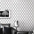 Марокканский Решетки Черный Белый Современный Геометрический Узор Обоев Спальня Стеновые Покрытия Бумаги Живой комнате Диван Фон Декора