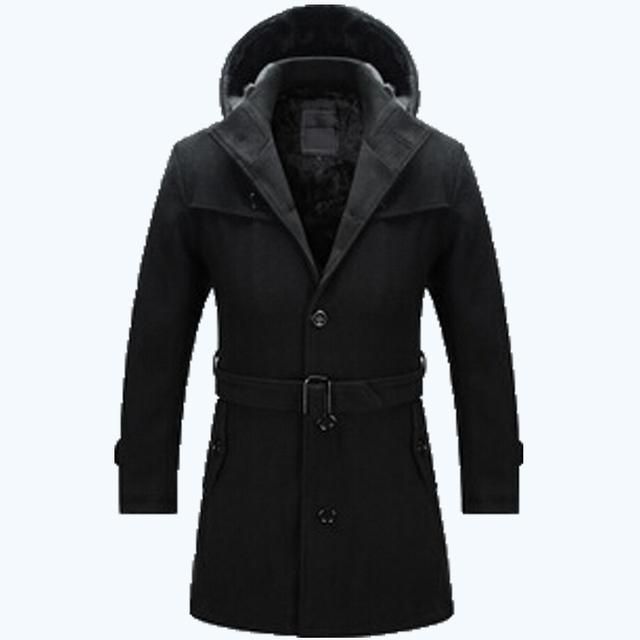 El envío libre 2017 Hombres estilo sólido con capucha y cinturón de lana lining outwear abrigo de lana del collar del soporte de invierno ropa de abrigo parka 115