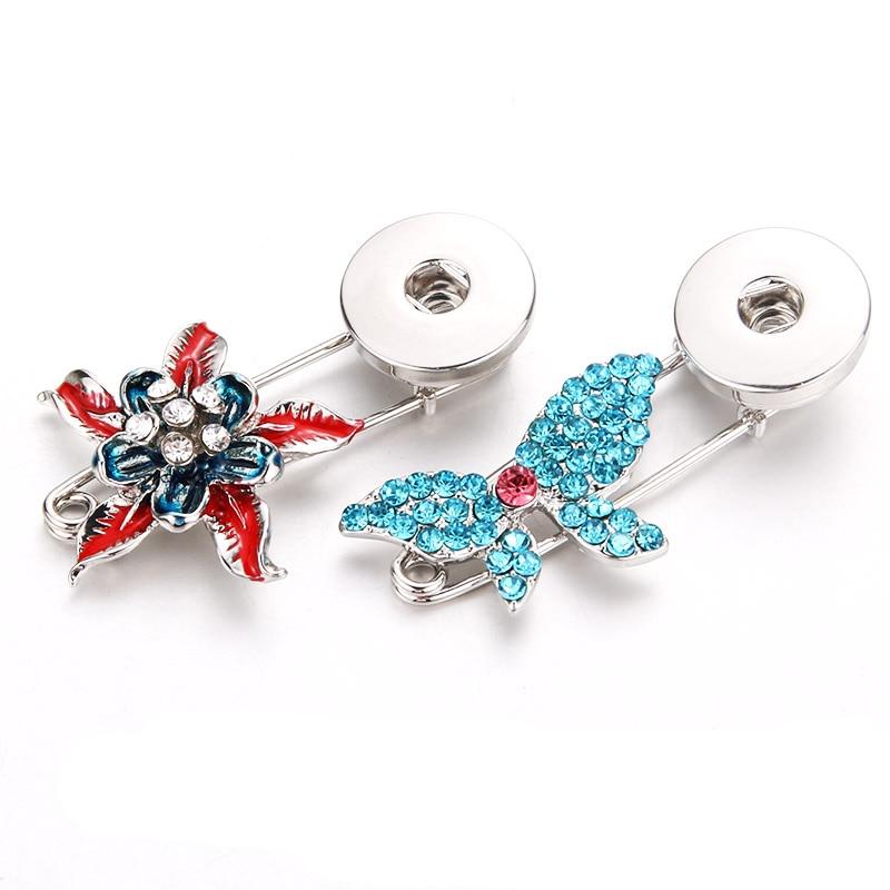 Silver vintage Brooch flower Brooch Butterfly rhinestone brooch Snap button Jewelry gift girls women (fit 18mm 20mm snaps )