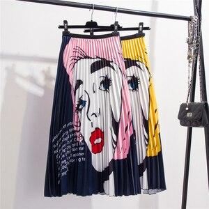 Image 5 - 2020 New Printing High Waist Pleated Skirt Women Spring Summer Midi Skirts Womens Elastic Waist A Line Long Skirts For Women Rok