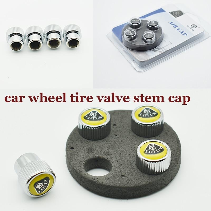 1set Chrome Car Wheel Tire Valve Stem Cap Auto Valve Covers Metal For Lotus Logo Badge Good Quality