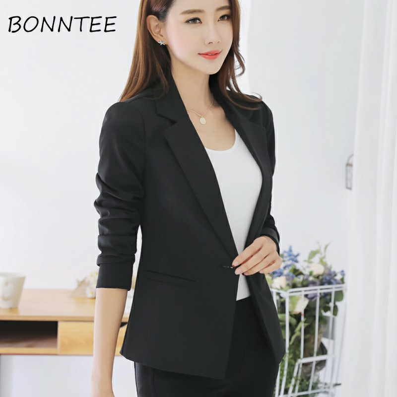 Blazers Women Solid Slim Single Button Elegant Long Sleeve Fashion Office Ladies Korean Style Pockets Coat Womens Outwear Soft