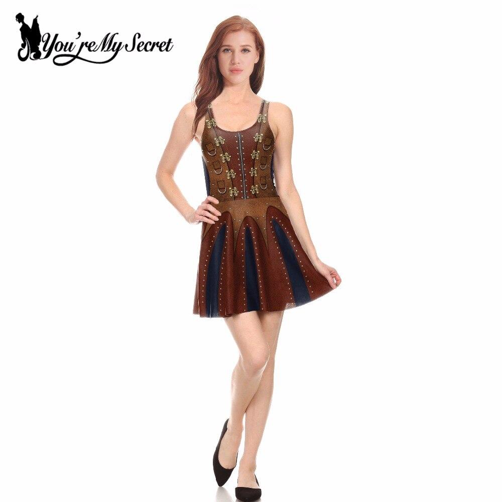 [You're My Secret] Fashion Steampunk Leather Design Digital Print Slim Dress Women Tank Sexy O-Neck Knee-Length Summer Pleated