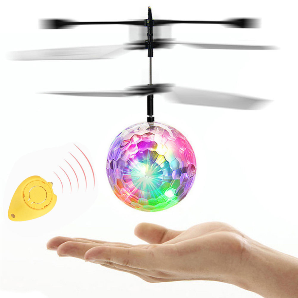 RC Toys EpochAir RC Electric Flying Ball LED Drone Helicopter Flashing Light Aircraft Helicopter Ball Induction Toys Kids Gift