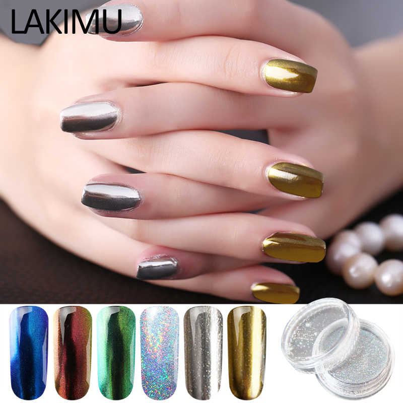LAKIMU 1 Box Hot Sale Nail Art Magic Powders Holographic Nail Glitters Pigment Chameleon Nail Polish Bling Flakes Mirror Effects