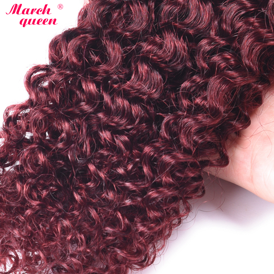 Hair Weaves March Queen #99j Indian Human Hair Weave 4 Bundles Red Wine Color Curly Hair Extensions Pre-colored Double Weft Hair Hair Extensions & Wigs