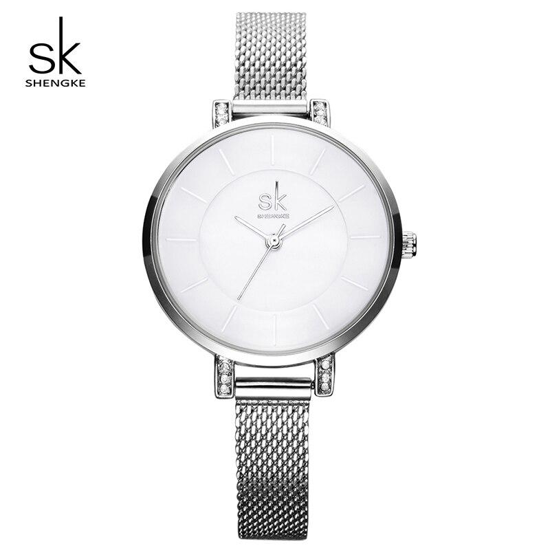 Shengke Women Watches Luxury Silver Ladies Bracelet Watches Stainless Steel Relogio Feminino 2019 SK Women Wrist Watch #K0033