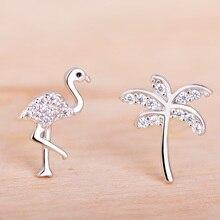 Funmor Asymmetry Flamingo Coconut Tree 925 Sterling Silver Earrings Stud Ear Jewelry Women Girls Hawaii Vacation Accessories