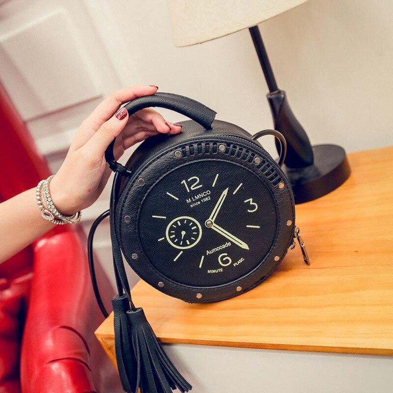 Vintage Hot Women Creative Shoulder Bag Designer Alarm Geometry Zipper Embroidery PU Leather Bag Quality