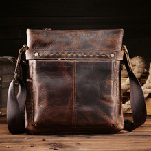 Shang Demeng, mens leather briefcase, satchel, handbag, Guangzhou bag, crazy horse skin 8029-1