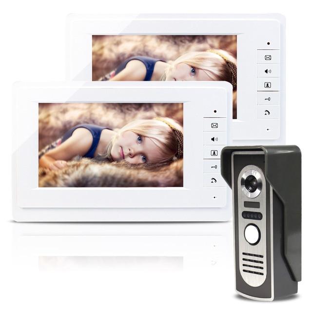 """7"""" Wired Video Door Phone Doorbell Intercom Kit with Night Vision 1/4"""" CMOS 1V2 Camera F1727B"""