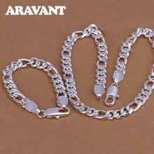hot deal buy women men jewelry sets 925 silver jewelry simple necklace bracelet set wedding jewelry sets