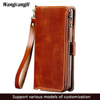 For iPhone 6 6s 7 8 Plus X PU Leather Multi Function Universal Wallet w/ Strap Zipper Credit Card Holder Coin Bag Cover Case