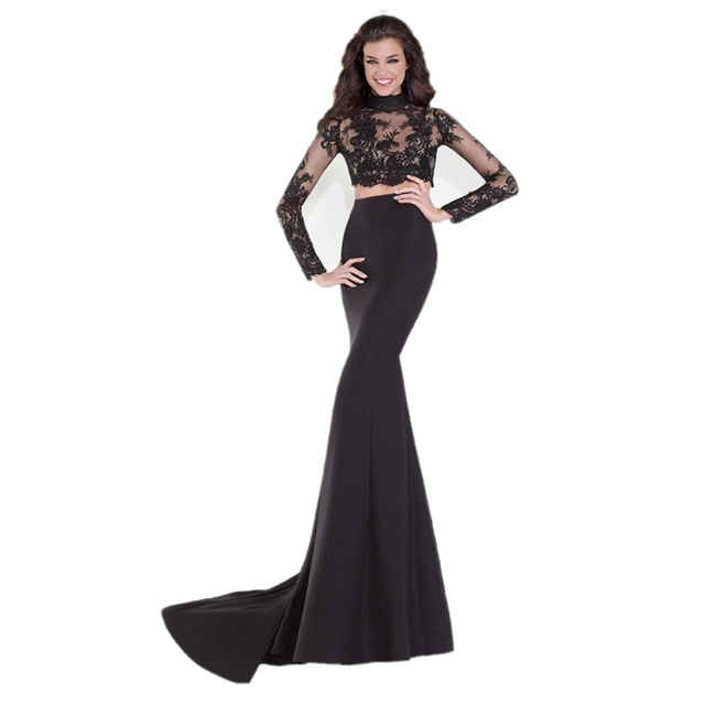 New Elegant Black Long Sleeve Mermaid Two Piece Prom Dresses Court
