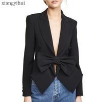 Sexy Fashion Black Blazer Women Long Sleeve Coat Bowknot Design Turn down Notched Collar Blazers Women's New Spring Outwear