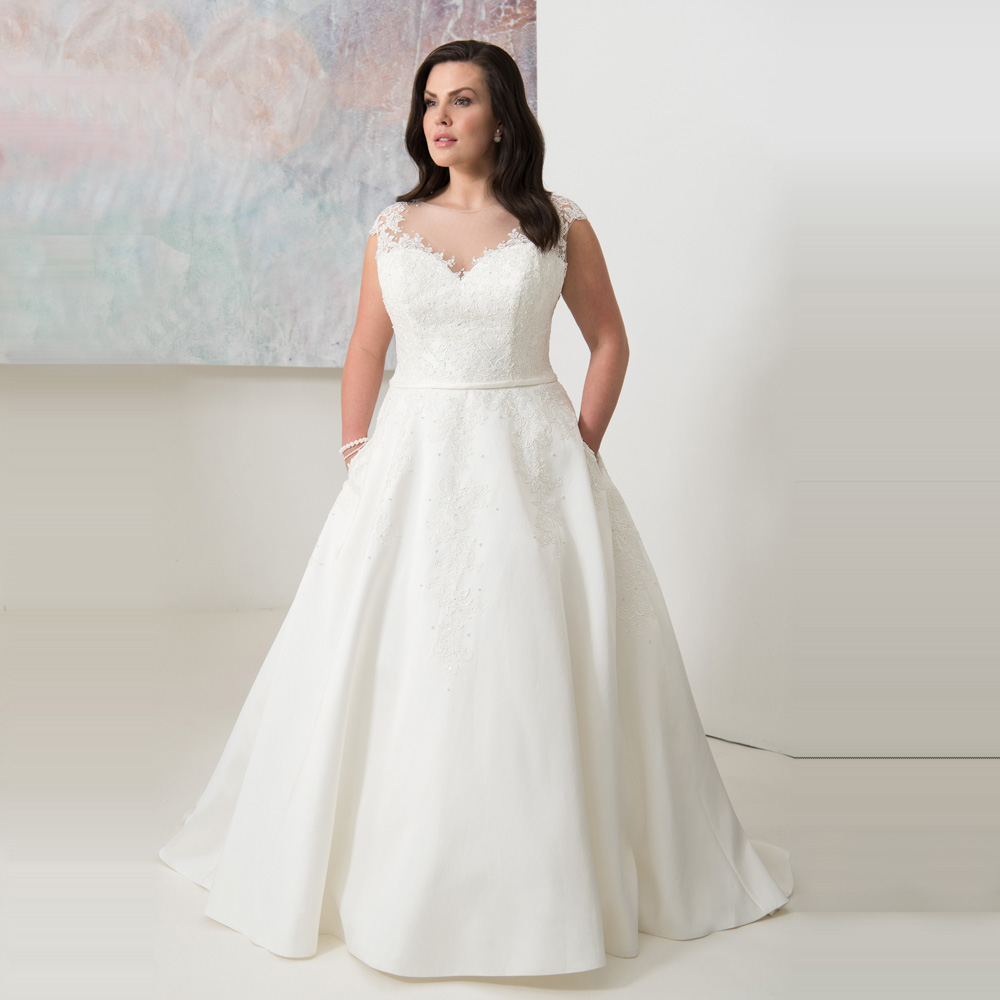 Elegant Scoop Cap Sleeves Plus Size Wedding Dresses with Appliques Custom Made A line Satin White
