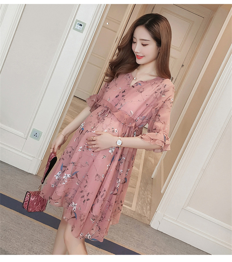 Chiffon Maternity T-Shirts Half Sleeve Loose Blouses Clothes for Pregnant Women Spring Summer Pregnancy Dresses Clothing Multan