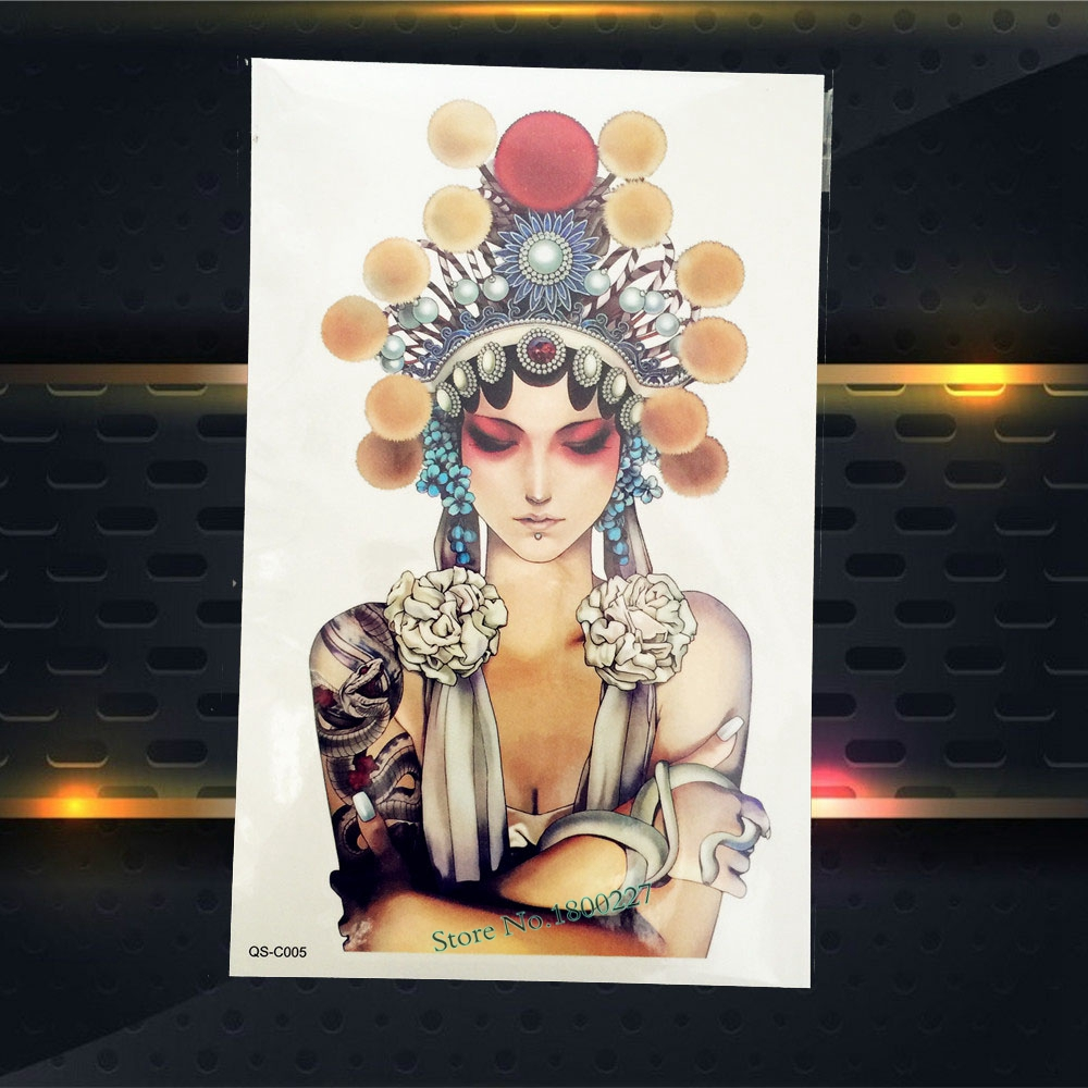 Popular Body Back Art Temporary Tattoo Sticker Beauty Women Beijing Opera Actress Design Waterproof Arm Tattoo Leg Decals PQSC57