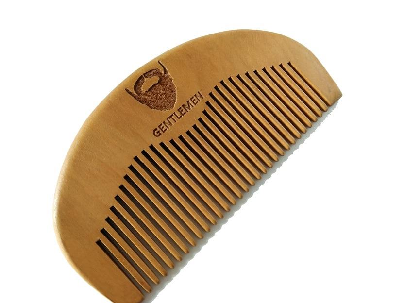 Wood Pocket Beard Comb Wholesale Small Peach Wood Hair Brush Comb For Gentleman engraved logo 1