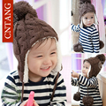 New 2016 Winter Boys Plus Velvet Hats Kids Knitted Warm Wool Pompons Caps Pure Color Children Ear Beanies Girls Hats Baby's Caps