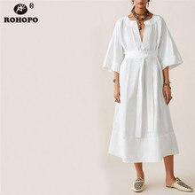 купить ROHOPO Half Sleeve White Midi Dress Belted Baggy Sleep Female Dress Straight Loose Long Night Clothe Vestido #LT1985 по цене 1051.87 рублей