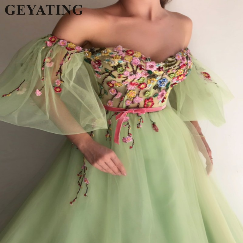 Light Green Tulle Princess Prom Dresses with Sleeves Off the Shoulder 3D Flowers A line Long Women Evening Gowns Formal Dress