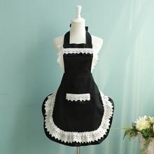 סגנון צרפתי חדרניות סינר שחור/לבן תחרה נשים אופנה סינר מטבח בישול קפה נסיכת סינרי מלצר סינר עם כיס