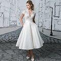 Custom Made Vestido De Noiva Branco/Marfim Cetim de Manga Curta vestido de Renda Vestido De Noiva Curto Vestido De Casamento