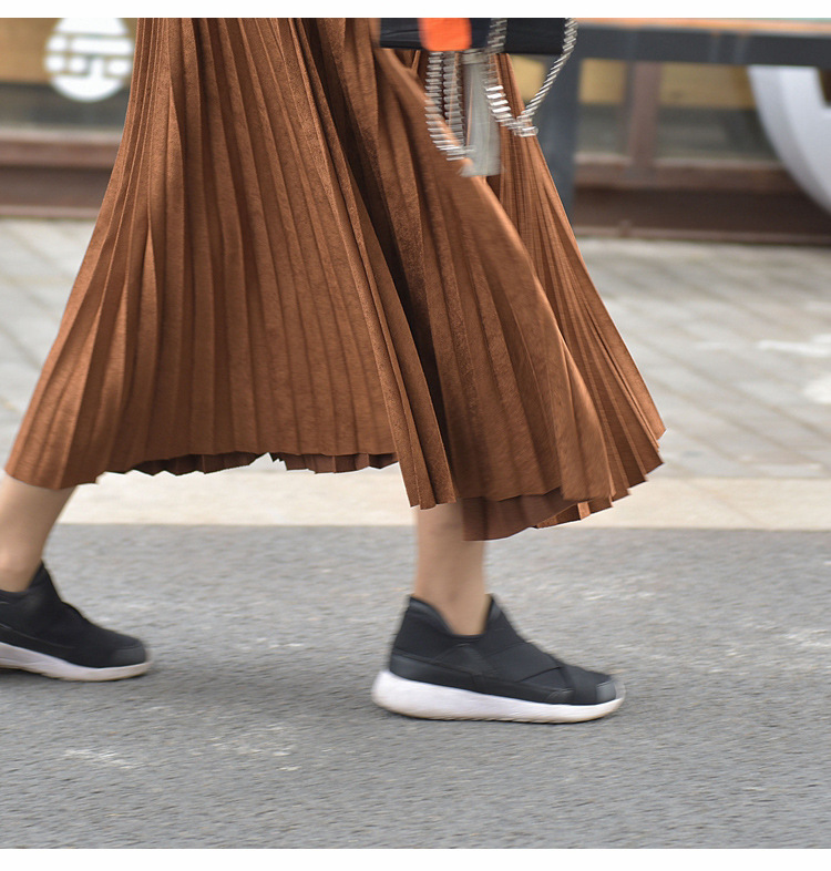 19 Two Layer Autumn Winter Women Suede Skirt Long Pleated Skirts Womens Saias Midi Faldas Vintage Women Midi Skirt 49