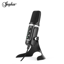 Inpher Yongshi Mic Professional Condenser Audio Wired Studio Microphone Vocal Recording KTV Karaoke Microphones mikrofon metal 55sh microphone rose gold color vocal dynamic retro vintage mic 55 sh for mixer audio studio video singing recording