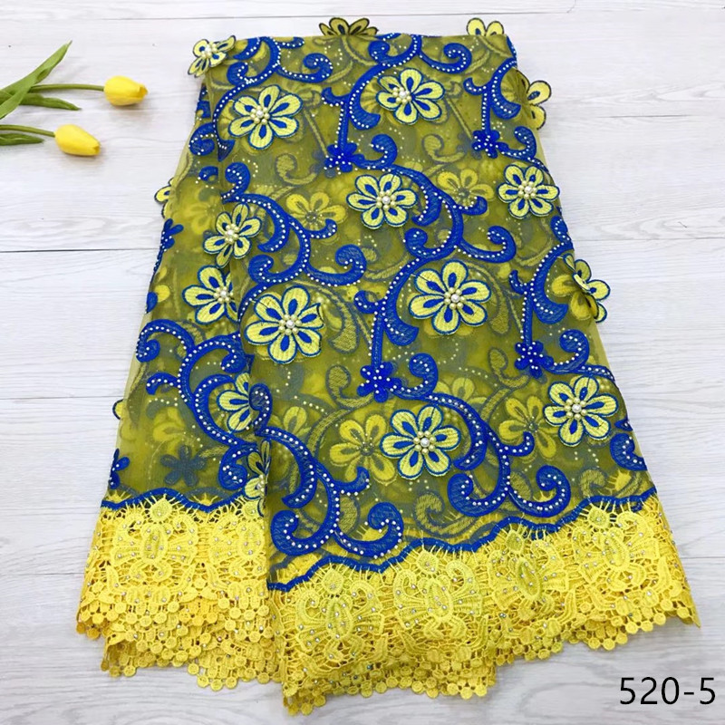 3D Lace Fabric Teal African French Lace Fabric High Quality Handmade Embroidery guipure Lace Nigerian Lace Fabric For 5yards 520