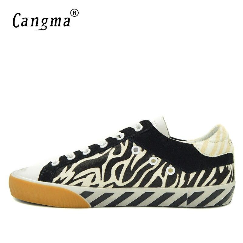 Zapatos Negro Retro Marca Señoras Pisos Blanco Crin Retro Y Auténtico Sneakers Mujeres Moda Calzado no Rayas Vintage Cangma Cuero zXaq1a