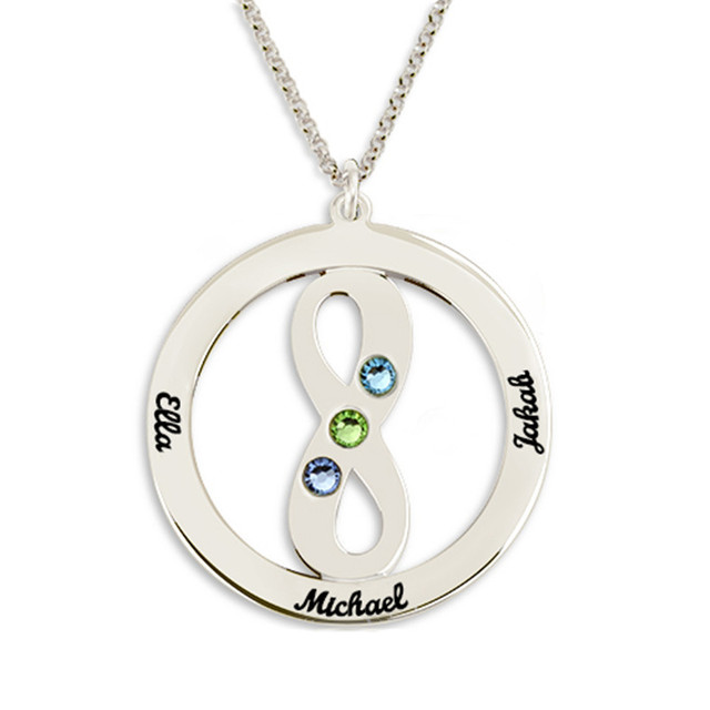 Wholesale Birthstone Circle Name Necklace With Infinity Symbol